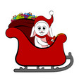 cute rabbit on a christmas sledge vector image vector image