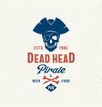 dead head pirate beer and food pub abstract vector image