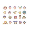 faces children cute cartoon boys and girls of vector image