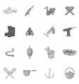 Fishing icons set black monochrome style vector image vector image