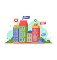 flat building with messages at real estate market vector image vector image