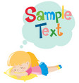 girl napping and speech bubble vector image vector image