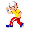 happy boy dancing vector image vector image
