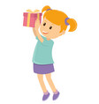 happy little girl received her christmas gift vector image vector image