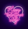 happy valentine s day neon lettering on dark vector image
