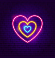 hearts neon sign vector image vector image