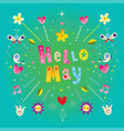 hello may greeting card vector image vector image