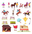 horse racing icons collection vector image vector image