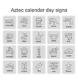Icons with Aztec calendar Day signs vector image