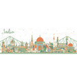india city skyline with color buildings vector image vector image