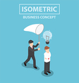 Isometric businessman stealing light bulb of idea vector image vector image