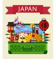 Japan travel banner with famous attractions vector image