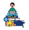 man using laptop with books vector image vector image