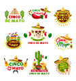 mexican cinco de mayo holiday mexico icons vector image