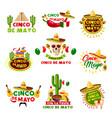mexican cinco de mayo holiday mexico icons vector image vector image