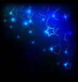 neon hearts and stars and dark background vector image vector image