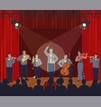 opera theater scene symphony orchestra performing vector image vector image