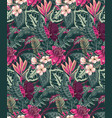 seamless pattern with tropical palm leaves vector image vector image