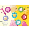 Shopping icons store elements bag tag hanger vector image