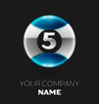 silver number five logo in the silver-blue circle vector image vector image