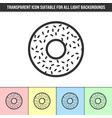 simple outline transparent donut icon on vector image