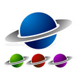 simple planet symbol in three colors vector image