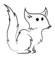small cat drawing on white background vector image vector image