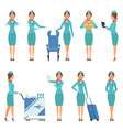 stewardess characters various mascots in action vector image