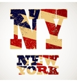 Vintage lettering NY and new York flag of the USA