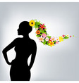 woman and flowers vector image
