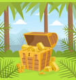 wooden ancient chest gold on tropical island vector image vector image