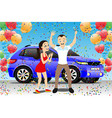 young couple rejoices to a new car vector image