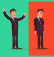 happy and unhappy businessman good and bad vector image
