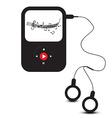 MP3 Player Icon Retro mp3 Device with Headphones vector image
