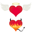 Angel-devil heart vector image vector image