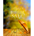 Autumn sale background with an umbrella vector image vector image