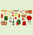 barbecue icons food products bbq grilling vector image