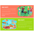 bbq party and text samples vector image vector image