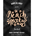 beach party palm leaves pastel orange text flyer vector image vector image