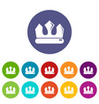 bronze crown icons set color vector image vector image