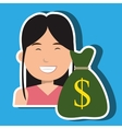 business person with money bag isolated icon vector image