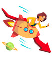 business woman riding a rocket falls down on vector image vector image