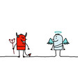 cartoon characters - devil and angel vector image