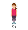 cartoon little girl crying vector image vector image