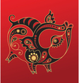 chinese horoscope year pig vector image vector image