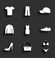 Clothes flat icons set vector image vector image