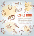 coffee time text background sweet pastry vector image vector image
