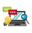 computer with speech bubble and light bulb vector image vector image