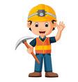 construction man holding axe vector image vector image