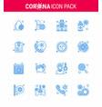 coronavirus awareness icon 16 blue icons icon vector image vector image